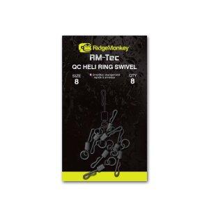 Ridge Monkey RM-Tec Quick Change Heli Ring Swivel Gr.11 8Stück