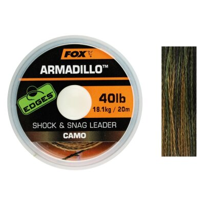 Fox Armadillo Camo Shock & Snag Leader 40lb 18kg 20m