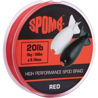 Spomb Braid 300m 9kg 20lb red 0,18mm